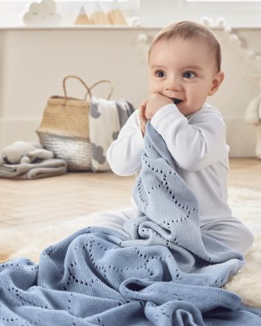 paturica pentru copii dip dye bleu