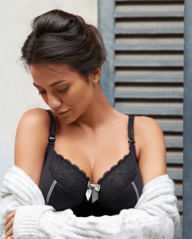 Cămașă de noapte gravide și alăptare Lisa negru