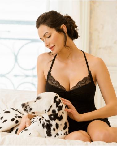 Camasa de noapte pentru gravide serenity negru si alaptare