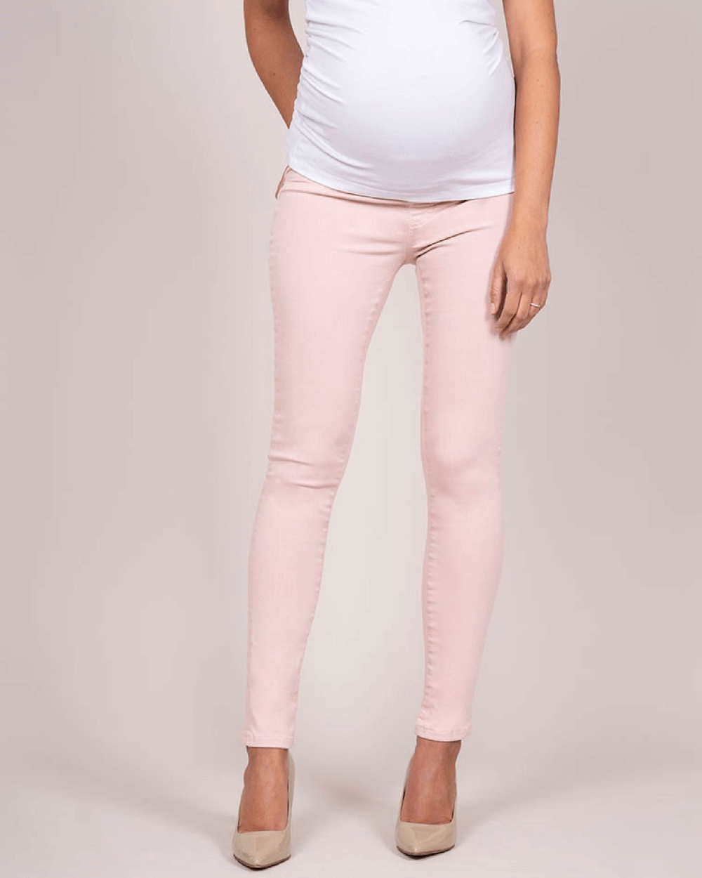 Pantaloni roz blugi pentru gravide Hamish